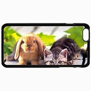 Fashion Unique Design Protective Cellphone Back Cover Case For iPhone 6 Plus Case Cat W Bunny Black