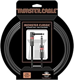 Monster Cable Classic 1/4 Inch Angled to Straight Instrument Cable 21 ft.