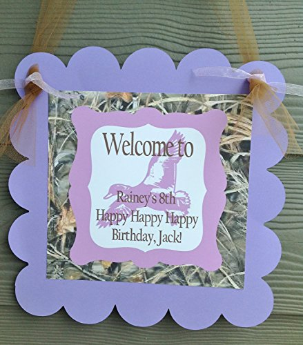 1 - Door Sign - Duck Dynasty Inspired Happy Birthday Collection - Max 4 Camo Background & Lavender, Purple and Brown Accents - Party Packs Available