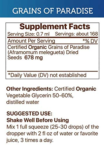Grains of Paradise Alcohol-Free Liquid Extract, Organic Grains of Paradise Aframomum melegueta Dried Seeds Tincture Supplement 2×4 FL OZ
