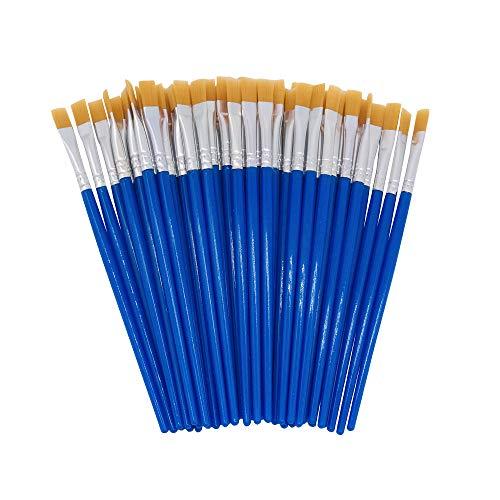 SUNSHINE CHEN Children's Art Paintbrushes, Little Painting Brushes with Plastic Handle for Kids Blue (Blue 50Pcs)