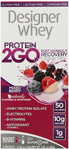 Designer Whey Protein 2Go Drink Mix, Berry mixte, 0,56 once (5-paquets)
