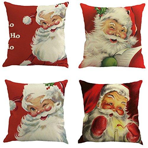 E-Livingstyle Merry Christmas Series Cotton Linen Decorative Throw Pillow Case Square Sofa Cushion Cover Home Decor18 X 18