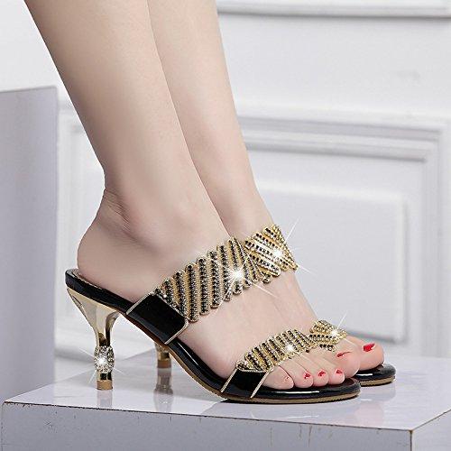 été Black MUYII Sandales Respirant Romaines Femmes Pantoufles Strass Chaussures zwzr85fxPq