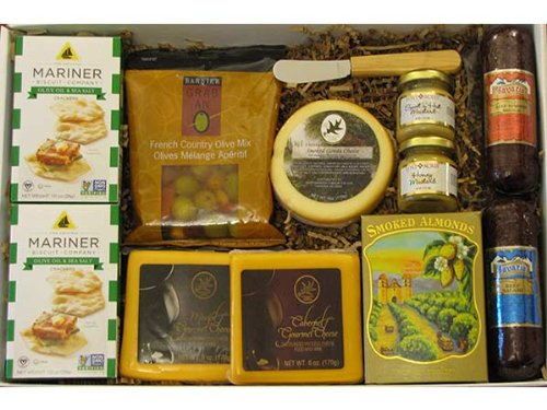 Cheese, Sausage and Snack Feast Gift Box Wine Smoked Gouda