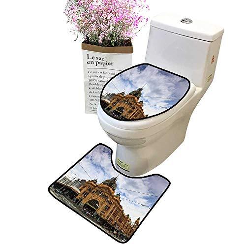 (2 Piece Bathroom Mat Pedestal Rug Bath Mat Melbourne City Tori buil Flinders Station Railway Victoria Colonial Style Yellow Bricks Contour Toilet Mat and Toilet lid)