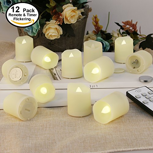 Remote Control Flameless Candles LED Tealights - Votive LED Tea Light with Timer- Realistic Flickering - Fake Candles - Battery Operated 200 Hours - Amber Yellow Flame - Holiday Decorations 12 set (Battery Operated Flickering Tea Lights)