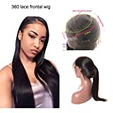 360 Lace Frontal Wig Straight Hair Brazilian Lace Human Hair Wigs 150% Density Straight 360 Lace Wig Pre Plucked Natural Hairline with Baby Hair For Black Women (16 inches)