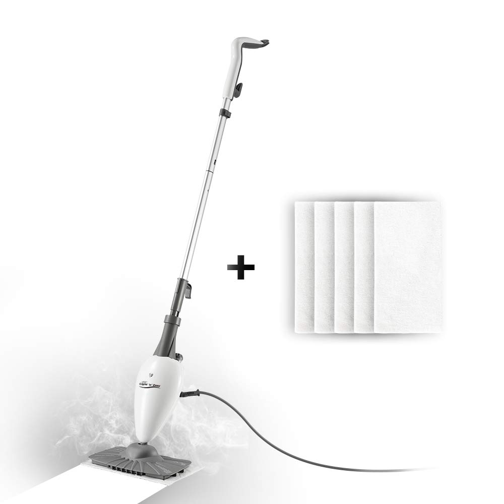 LIGHT 'N' EASY Steam Mop Floor Steamer for Cleaning with Swiveling Steamer Mop Head for Tile,Grout,Laminate,Hardwood,Carpet Steamer,Professional 5 in 1 Steam Mops Steamer by LIGHT 'N' EASY