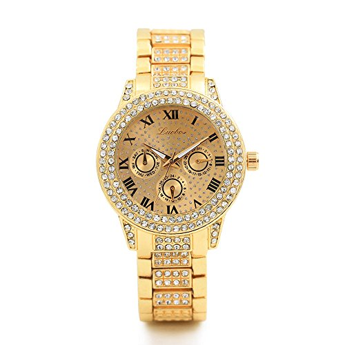 20 Diamonds Womens Watch - Womens Quartz Watches COOKI Ladies Teen Girls Fashion Minimalist Casual Quartz Analog Alloy Wristwatch Round Diamonds Dial Stainless Steel Diamonds Band X20 (Gold)