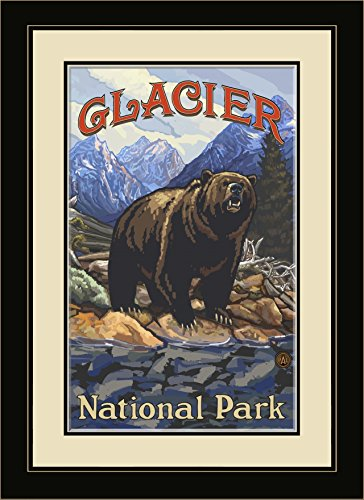 Northwest Art Mall Pal 1698 Mfgdm Gob Glacier National Park Grizzly On Bank Framed Wall Art By Artist Paul A  Lanquist  13 By 16 Inch