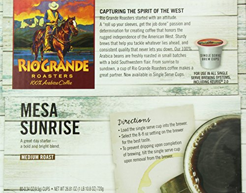 Rio Grande Roasters Mesa Sunrise Coffee Single Serve K-Cup, 80 Count (Compatible with 2.0 Keurig Brewers)