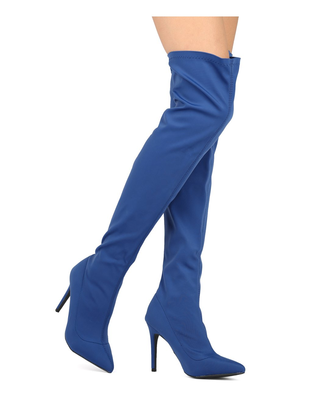 Alrisco Women Stretch Over The Knee Pointy Toe Stiletto Boot HF00 - Blue Lycra (Size: 9.0) by Alrisco