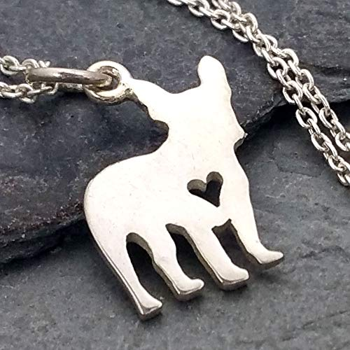 Love My French Bulldog w/Heart Cutout Necklace - 925 Sterling Silver ()