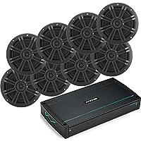 Kicker Bundle of 9 Items 44KXMA800.8 8-Channel KXM Series Marine Amplifier with 41BKM604B 6-1/2 KM Series 2-Way Speakers Black (4 Pairs)