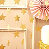 GOLD STAR GARLAND- This garland is made of metallic rich gold paper stars that is sewn together with sturdy gold thread. This would be so cute to display in your child's room, wall or even on your mantle for Christmas. Ideal to use as a backd...
