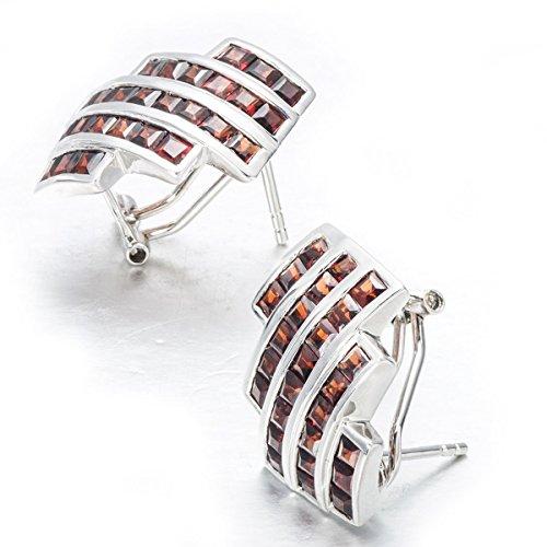 hutang Noir naturel Jewelry grenat Argent 925Boucles d'oreilles clous en argent sterling 925style classique wonmen de