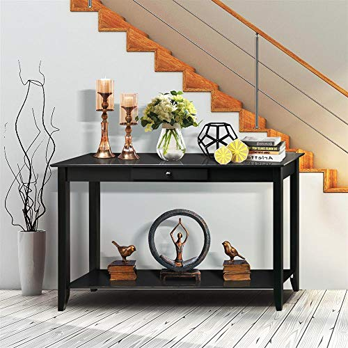 Foyer Table Wood - Yaheetech Wood Console Table with Drawer and Shelf 2 Tier Black Hall Table Entryway Furniture, 48''L x 15''W x 30'' H