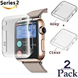 Josi Minea x2 Pcs Apple Watch Series 2 [42mm] Protective Snap-On Case with Built-in iWatch Screen Protector - PC Hard Anti-Scratch & Shockproof Shield HD Ultra Thin Cover - 42mm [2 Pack - Clear+Grey]