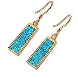 Hermosa Drop Earrings Rose Yellow Gold Australian Fire Opal Women Jewelry (Rose Gold- Blue)