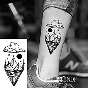 tzxdbh 3Pcs-Waterproof Tattoo Sticker Feather Rose Triangle Tattoo ...