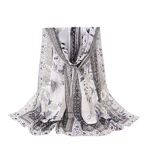 DEATU Lightweight Fall Scarfs for Women Ladies Flowers Printing Long Soft Wrap Scarf Shawl ()