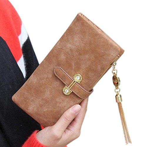 Jamicy® Donne portafoglio con coulisse in pelle cerniera borsa Retro nappa frizione Messenger (Brown)