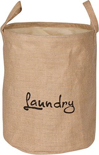 "13"" Round Jute Laundry Basket with Handles & Drawstring Clos"