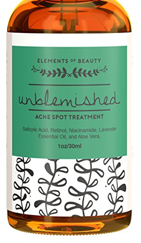 Unblemished Acne Spot Treatment by Elements of Beauty - Best Skin Care Acne Removal Treatment: Reduce Blemishes - Natural Acne Treatment - Acne Cream - Salicylic Acid, Retinol, - Is How Shipping Overnight Fast