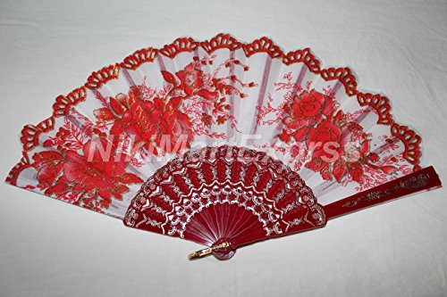 New Spanish Style Dance Party Wedding Lace Folding Hand Held Flower Fan (Red)