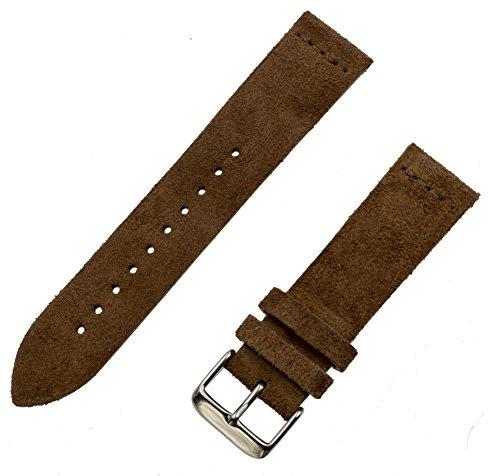 Benchmark Straps Espresso (Dark Brown) Suede Leather Watchband | 18mm, 20mm & 22mm (18mm, Dark Brown)