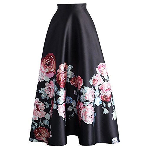 Subwell Women'S Floral Print Colorblock High Waisted A-Line Long Maxi Skirt Dresses, Black3, LARGE]()