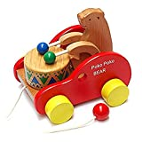 JULED Wooden Pull Along Toy, Kids Creative Educational Toy Bear Drum Solid Wood Pull Toys
