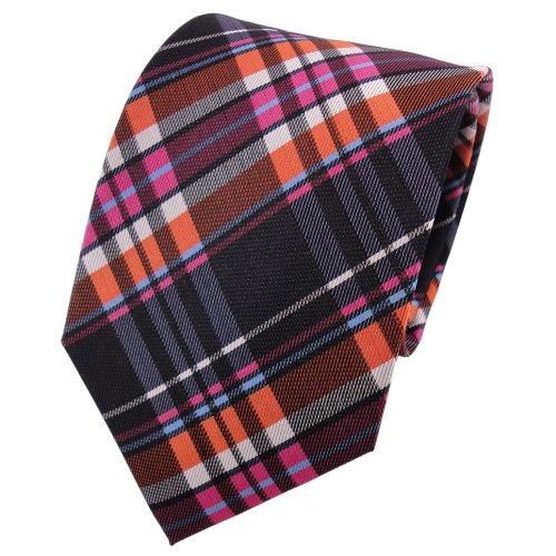 TigerTie cravate en soie orange rosé anthracite argent bleu à carreaux - cravate en soie
