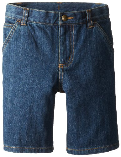 Carhartt Little Boys' Washed Denim Dungaree Short, Worn Blue, 7 ()