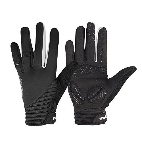 WOTOW Winter Cycling Gloves, Windproof Smart Phone Touch Screen EVA Pad Shock Proof Silicone Non Slip Gloves Full Finger for Men Women Bike Riding Motorcycle Driving Outdoor Work (Black-XL)