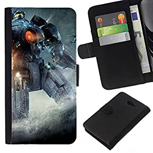 JackGot ( Pacific Rem Robot ) Sony Xperia M2 la tarjeta de Crédito Slots PU Funda de cuero Monedero caso cubierta de piel