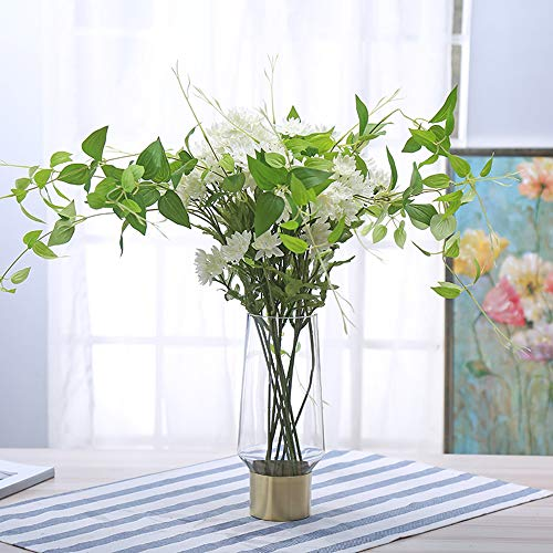 Cyl Home Vases Cylinder Clear Glass Flower Arrangement Vases Brass Gold Band Decor Dining Table Centerpieces Gifts for Wedding Housewarming Party, 9.8'' H x 3.4'' - Brass Vase Flower