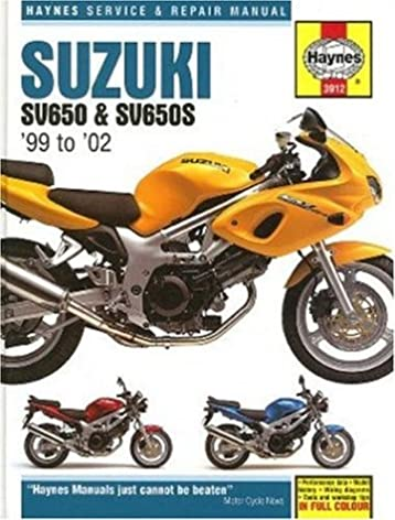 suzuki sv650 1999 to 2002 haynes manuals matthew coombs rh amazon com 2000 suzuki sv650 owners manual 2000 sv650 owners manual