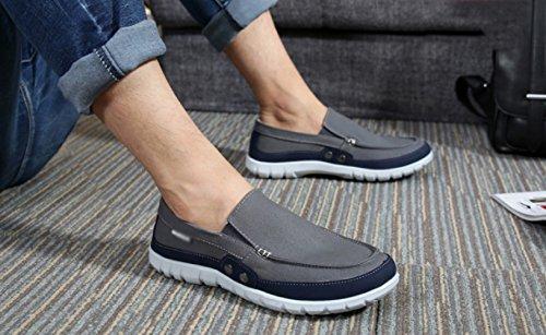 casual WFL un Grigio maschi pigri di Estate studenti scarpe di scuro stoffa pedale scarpe uomini scarpe tela scarpe qqrwP81