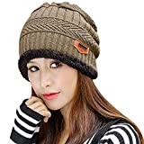Muryobao Thick Warm Winter Beanie Hat Slouchy Skully Knit Hats Soft Stretch Ribbed Cap for Women Snow Ski Khaki