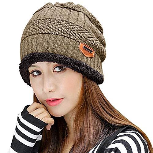 Muryobao Thick Warm Winter Beanie Hat Slouchy Skully Knit Hats Soft Stretch Ribbed Cap for Women Snow Ski Khaki by Muryobao