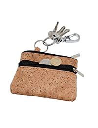 Boshiho Unisex Zippered Coin Purse Change Holder with Key Ring Keychain