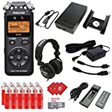 TASCAM Portable Digital Audio Recorder with Microphones, External Battery Pack, AC Power Adapter, 32GB Memory Card, 12 pcs AA Batteries and 3 pcs Microfiber Cloth (DR-05)