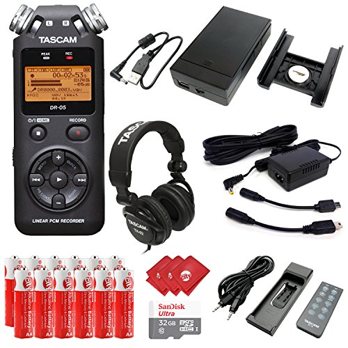 TASCAM Portable Digital Audio Recorder with Microphones, External Battery Pack, AC Power Adapter, 32GB Memory Card, 12 pcs AA Batteries and 3 pcs Microfiber Cloth (DR-05) by Circuit City