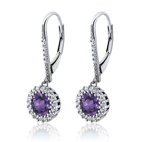 Gem Stone King 3.30 Ct Stunning Round Purple Amethyst 925 Sterling Silver Women's Earrings