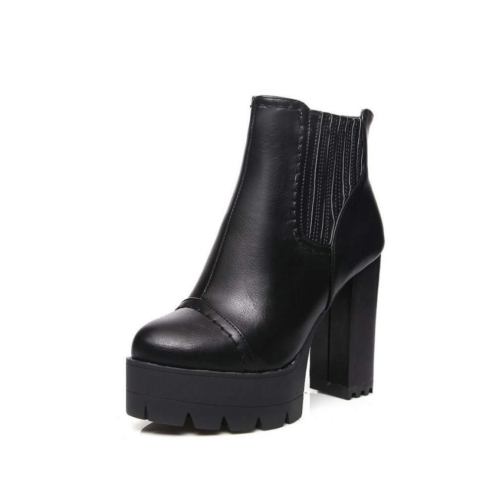 Ai Ya-xuezi Metall Farbe Punk Herbst Schuhe Schuhe Schuhe Frauen Square High Heel Stiefeletten Runder Damen Plattform Mode Schuhe Größe 34-43 88a136