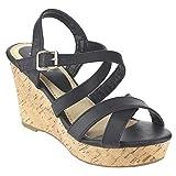 Beston EA47 Women Strappy Criss Cross Slingback Wedge Sandal Run Half Size Small, Color:BLACK, Size:7