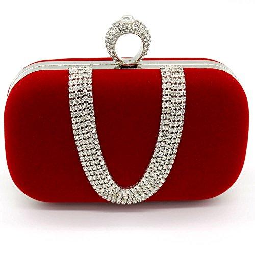 (Kingluck Velvet with Austria Rhinestones/Aluminiumsheet Evening Handbags/Clutches More Colors Available)