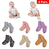 Guozyun Unisex Baby Socks-Cute Infant Non-Slip Cotton Cozy Socks for Baby Toddler Kids-0-48 Months 6 - Pairs
